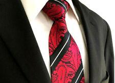 Mens Custom Red & Black Wedding Tie White Stripe Floral Paisley Silk