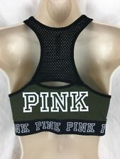 Victoria's Secret Pink Crop Sports Bra Size L Green Black B6*N