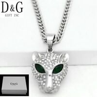 """DG Men's 20""""Stainless-Steel Silver Curb Chain CZ Panther.Pendant*Unisex*Box"""