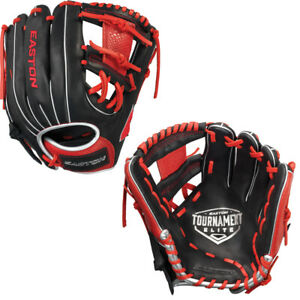"Easton Tournament Elite Series 11.5"" Youth Infield Baseball Glove Black & Red"
