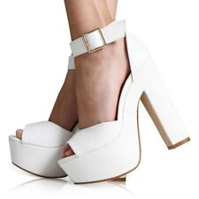 WOMENS ANKLE STRAP LADIES PLATFORM CHUNKY HIGH HEEL SANDALS SHOES SIZE 3-8