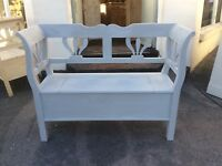 "Pine Bench Box Settle 48"" Wide  Shabby Chic, Farrow And Ball Lamp Room Grey"