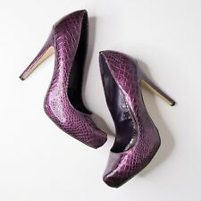 Joey Shoes Purple Faux Snake Skin Heels Size 8 Animal Print Shoes