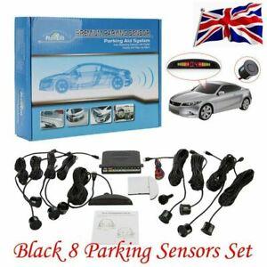 Front and Rear 8 Sensors Car Reverse Parking Kit Buzzer Alarm LCD Display Black