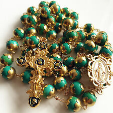 Gold XL 10MM Turquoise BEADS CATHOLIC AVE MARIA 5 DECADE ROSARY NECKLACE CROSS