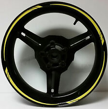 BRIGHT YELLOW REFLECTIVE MOTORCYCLE RIM STRIPES WHEEL DECALS TAPE STICKERS 17""