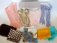 Vintage Glove Collection 4 Formal Pair Pastels 5 Scarves Italy Japan France Lot
