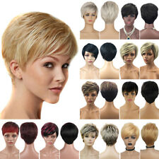 Womens Pixie Boycut Bob Ombre Wig Short Straight Hair Cosplay Party Prop Wigs