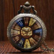 Retro Rainbow Men Women Quartz Pocket Watch Necklace Chain Roman Number Dial