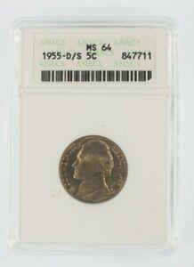 1955-D/S 5C Jefferson Nickel Graded by ANACS as MS-64