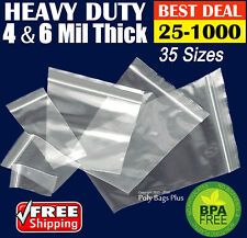 Clear 4-Mil Zipper Bags HEAVY-DUTY Reclosable Grip Plastic Zip Seal to Lock Ml