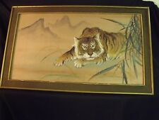 """VINTAGE 50'S LARGE 36"""" BY 20"""" FRAMED CROUCHING TIGER CHINESE SILK PAINTING"""