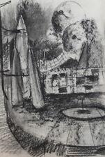 Vintage surrealist landscape charcoal drawing