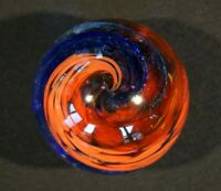 Beautiful Vintage Paperweight With Blue Red Swirls