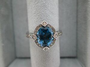 14 k White Gold London Blue Topaz and Le Vian Diamond Ring Size 7.5