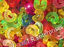 C CLIPS PACK 8g / 100 approx MIXED COLOUR DIY plastic loom bands  connector MIX