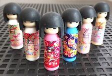 6 Japanese IWAKO Take-Apart Kokeshi Doll Rubber Erasers ALL BLACK HAIR