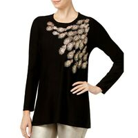 ALFANI NEW Women's Black Metallic Sequined Embroidered Tunic Sweater Top TEDO