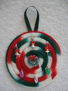 Round Christmas Ornament Hanger Plastic Canvas Handmade w/ Candy Canes & Wreath