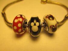 Set 3 Authentic Pandora Silver 925 Ale Disney Mickey Minnie Signature Bead Charm