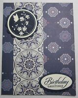 Stampin up! Handmade card Cream Navy Blue Birthday Greetings Bird w/envelope