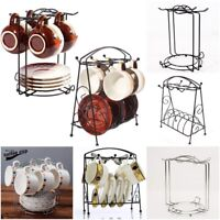 NEW CHROME 6 CUPS 6 DISHES STAND HOLDER HANGING MUG KITCHEN DRAINER STORAGE RACK