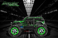 "TRAXXAS SUMMIT GRAPHICS WRAP DECALS ""HELL RIDE"" FOR OEM BODY PARTS GREEN FLAME"