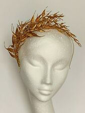 Gold Christmas Fascinator wreath hat  halo Headpiece Wedding races Garden party