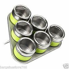 Set Of 6 Vintage Airtight Spice Jam Herb Storage Jars Lime Green Magnetic Tray