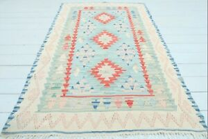 "Turkish Kayseri Small Kilim, Doormat, Bathmat Skyblue Rug, Carpet, Tapis 44""X69"""