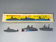 Vintage Shackman Metal Miniature Model Battle Ships miniature collectible W/box