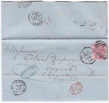 1872 C DEVAUX PERFIN 3d ROSE PL9  LONDON LETTER TO OTARD DUPUY IN COGNAC FRANCE