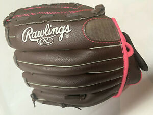 """Rawlings 11"""" Softball Fastpitch Glove - Brown/Pink FP11T"""