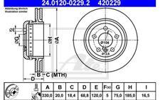 2x ATE Discos de Freno Traseros Ventilado 330mm 24.0120-0229.2