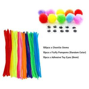 100x 10 colors Chenille Stems Craft Pipe Cleaners + Fluffy Pompoms +Toy Eyes U K