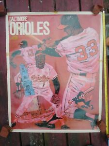 "Rare-VINTAGE-1968-71-BALTIMORE ORIOLES-Baseball Poster-used PROMOTION inc-23""x29"