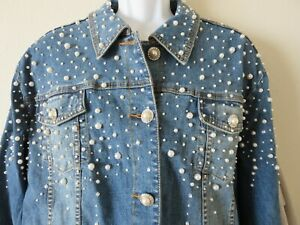 New The Quacker Factory Pearl Embellished Jean Jacket Stretch Denim Blue Size 3X