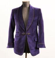 Purple Velvet Prom Dinner Tuxedos Mens Shawl Lapel Formal Wedding Groom Blazer