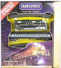 Spielzeug-Eisenbahn-Set TRAIN EXPRESS, US-Diesellok, 1 Personenwagen,16 Schienen