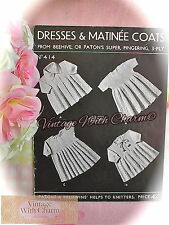 Vintage 1930s Knitting Pattern Baby's Dainty Matinee Coats & Dresses 2 Styles