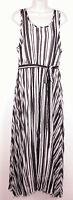 Lane Bryant Womens Striped Maxi Dress 18 Sleeveless Tank Belted Black White New