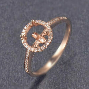 Round Cut 7mm Natural Diamond Semi Mount Solitaire Halo Ring Solid 14K Rose Gold