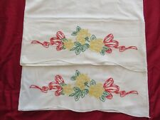 Pair of Vintage Hand Embroidered Pillowcases-Yellow Roses Red Bows- Cotton