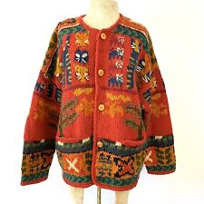 New listing Vintage 1980's Express Tricot Wool M/L Oversized Knit Cat Cardigan Sweater