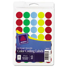 """Avery See-Through Color Dots Label 0.75"""""""" Diameter 1000/Pack Circle Assorted"""