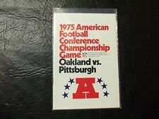 1975 AFC Championship game Pittsburgh Steelers-Oakland Raiders Media Guide