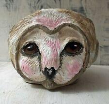 New Folk Art Owl Pottery Pot Dish Hand Sculpted One of a Kind