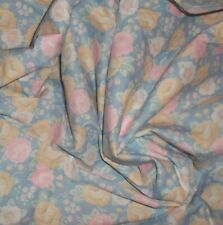 "VINTAGE cotton Floral 2 YARDs X 58"" w BLUE & PINK Pastels DOLL SEWING & CRAFTS"