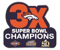 "SUPER BOWL STICKER DENVER BRONCOS 3X CHAMPIONS NFL SUPERBOWL CHAMPS 4.5"" X 4"""
