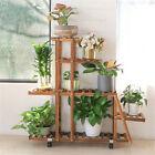 5 Tier Solid Wood Plant Stand Ladder Stair Shelves Flower Rack Display w/ Wheels